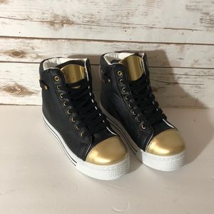 New black and gold women's lace up sneakers